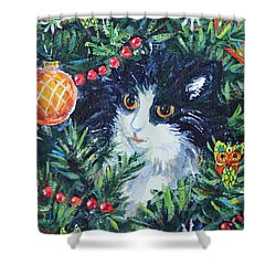 Shower Curtain featuring the painting Christmas Catouflage by Li Newton