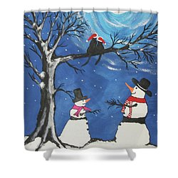 Christmas Cats In Love Shower Curtain by Jeffrey Koss