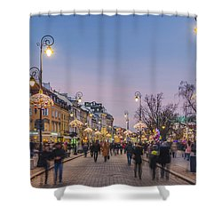 Christmas City Lights In Warsaw Shower Curtain