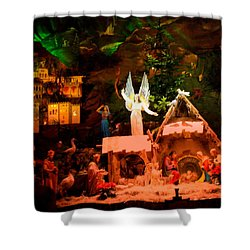 Christmas Crib Shower Curtain