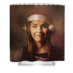 Shower Curtain featuring the photograph Christmas Disco Dj Woman by Jorgo Photography - Wall Art Gallery