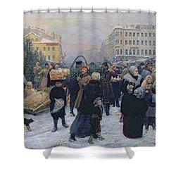 Christmas Fair  Shower Curtain by Heinrich Matvejevich Maniser