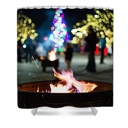 Christmas Fire Pit Shower Curtain