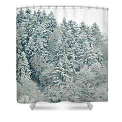 Shower Curtain featuring the photograph Christmas Forest - Winter In Switzerland by Susanne Van Hulst