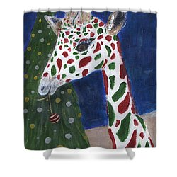 Shower Curtain featuring the painting Christmas Giraffe by Jamie Frier