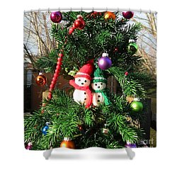 Shower Curtain featuring the digital art Christmas Greeters by Ann Johndro-Collins