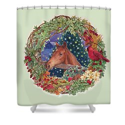 Christmas Horse And Holiday Wreath Shower Curtain