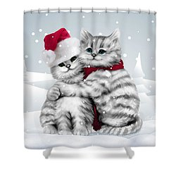 Christmas Hug Shower Curtain by Cindy Anderson