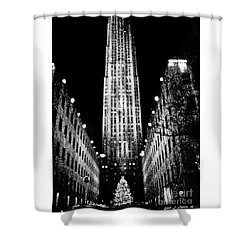 Christmas In New York City Shower Curtain by Carol F Austin