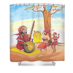 Christmas In Senegal Shower Curtain by Emmanuel Baliyanga