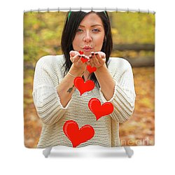 Shower Curtain featuring the photograph Christmas Kisses.. by Nina Stavlund