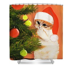 Christmas Kitty Shower Curtain by Anastasiya Malakhova