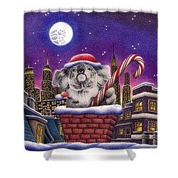 Christmas Koala In Chimney Shower Curtain