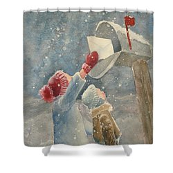 Christmas Letter Shower Curtain by Marilyn Jacobson