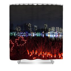 Christmas Lights At Lafarge Lake In City Of Coquitlam Shower Curtain