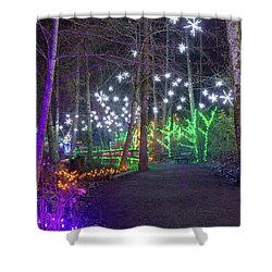 Christmas Lights Decoration Along Lafarge Lake Path Shower Curtain