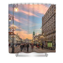 Christmas Lights In Warsaw Shower Curtain