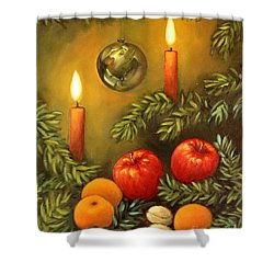 Shower Curtain featuring the painting Christmas Lights by Inese Poga