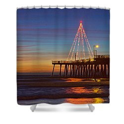 Christmas Lights On The Pismo Pier Shower Curtain