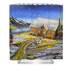 Shower Curtain featuring the painting Christmas On The Bay by Kevin F Heuman