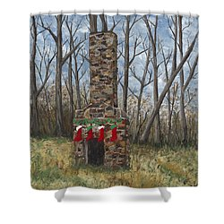 Christmas Past Shower Curtain by Helen Eaton