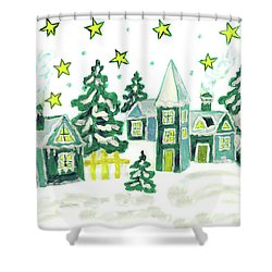 Christmas Picture In Green Shower Curtain