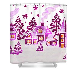 Christmas Picture In Pink Colours Shower Curtain by Irina Afonskaya