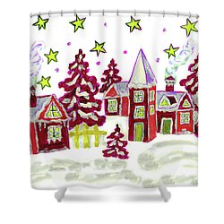 Christmas Picture In Red Shower Curtain