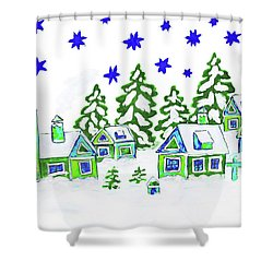 Christmas Picture, Painting Shower Curtain by Irina Afonskaya
