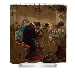 Christmas Prayers Shower Curtain by Henry Bacon
