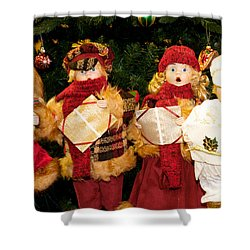 Christmas Quartet Shower Curtain by Vinnie Oakes