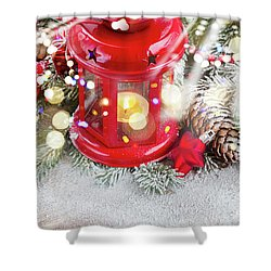 Christmas Red Lantern  Shower Curtain