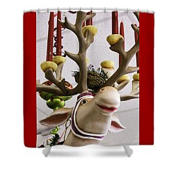 Shower Curtain featuring the photograph Christmas Reindeer Games by Betty Denise
