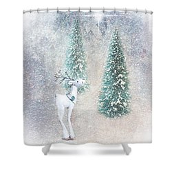 Shower Curtain featuring the photograph Christmas Reindeer by Mary Timman