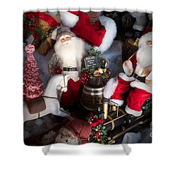 Christmas Rocking Horse II Shower Curtain by Vinnie Oakes