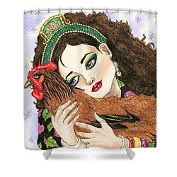 Christmas Rooster Shower Curtain