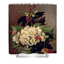 Christmas Roses Shower Curtain by Willem van Leen