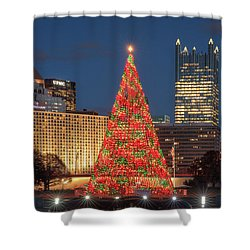 Shower Curtain featuring the photograph Christmas  Season In Pittsburgh  by Emmanuel Panagiotakis