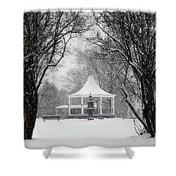 Christmas Season In The Park Shower Curtain