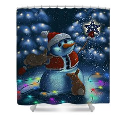 Shower Curtain featuring the painting Christmas Season by Veronica Minozzi