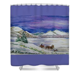 Shower Curtain featuring the painting Christmas Sleigh by Dawn Senior-Trask
