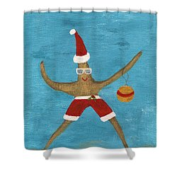 Christmas Starfish Shower Curtain