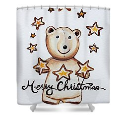 Christmas Stars Shower Curtain by Elizabeth Robinette Tyndall