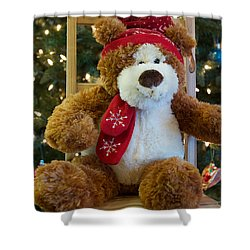 Christmas Teddy Bear Shower Curtain by Vinnie Oakes