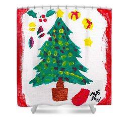 Shower Curtain featuring the painting Christmas Tree by Artists With Autism Inc