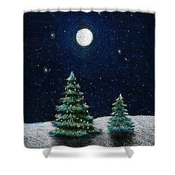 Christmas Trees In The Moonlight Shower Curtain by Nancy Mueller