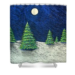 Christmas Trees In The Snow Shower Curtain by Nancy Mueller