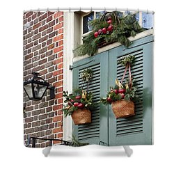 Christmas Welcome Shower Curtain by Sally Weigand