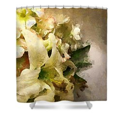 Christmas White Flowers Shower Curtain