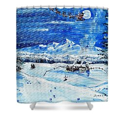 Shower Curtain featuring the painting Christmas Wonderland by Shana Rowe Jackson